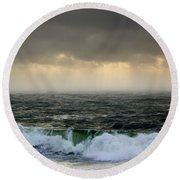 Ochre Sky's And Angry Seas 2 Round Beach Towel