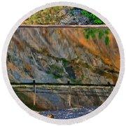 Ocoee Dam Reflection Round Beach Towel