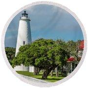 Ocracoke Island Lighthouse  Round Beach Towel