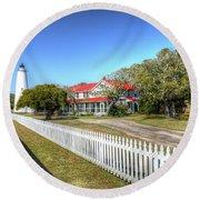 Ocracoke Lighthouse, Ocracoke Island, Nc Round Beach Towel