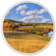 October Countryside 3 Round Beach Towel