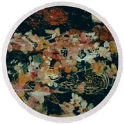 October Flowers By Night Round Beach Towel