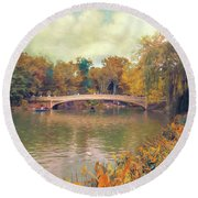 October In Central Park Round Beach Towel