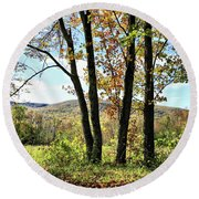 October In Vermont Round Beach Towel