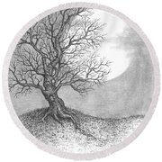 October Moon Round Beach Towel