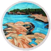 October Morning At Red Rock Bay Round Beach Towel