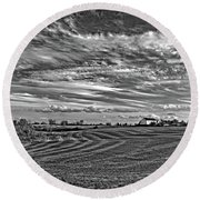 October Patterns Bw Round Beach Towel