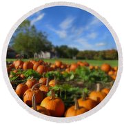 October Postcard  Round Beach Towel