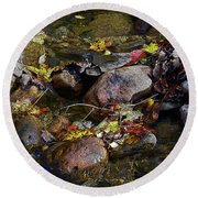 October Puddles Round Beach Towel