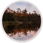 October Reflections On The River Round Beach Towel