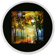October Reflections - Palette Knife Oil Painting On Canvas By Leonid Afremov Round Beach Towel