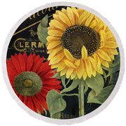October Sun II Round Beach Towel