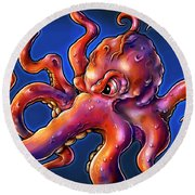 Octopus Round Beach Towel