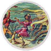 Octopus Attack, 1900s French Postcard Round Beach Towel