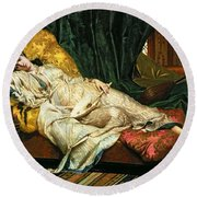 Odalisque With A Lute Round Beach Towel by Hippolyte Berteaux