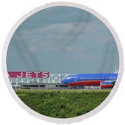 Odd Couple Delta Airlines Southwest Airlines Art Round Beach Towel