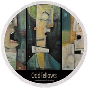 Odd Fellows Triptych Round Beach Towel