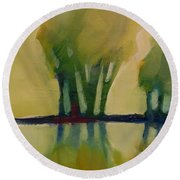 Odd Little Trees Round Beach Towel by Michelle Abrams