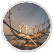 Ode To The Sun 0635 Round Beach Towel
