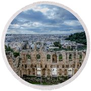 Odeon Of Herodes Atticus - Athens Greece Round Beach Towel