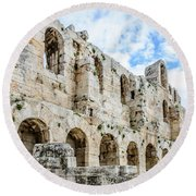 Odeon Stone Wall - Athens Greece Round Beach Towel