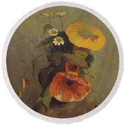 Odilon Redon - Vase With Poppy, Camomile And Bindweed Round Beach Towel