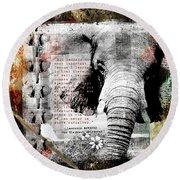 Of Elephants And Men Round Beach Towel