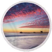 Of Milk Shakes And Cotton Candy Round Beach Towel