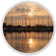 Of Yachts And Cormorants - A Golden Marina Morning Round Beach Towel