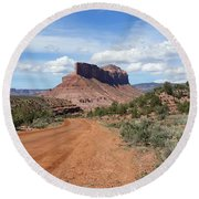 Off Road On The Red Rock Round Beach Towel