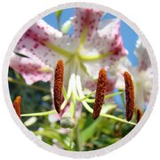 Office Art Prints Pink White Lily Flowers Botanical Giclee Baslee Troutman Round Beach Towel