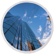 Office Buildings And Sky Round Beach Towel