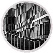 Office Buildings Reflections Round Beach Towel