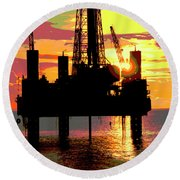 Offshore Drilling Rig Sunset Round Beach Towel