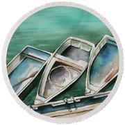 Ogunquit Maine Skiffs Round Beach Towel
