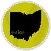 Ohio Is Home Base Black Round Beach Towel