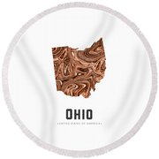 Ohio Map Art Abstract In Brown Round Beach Towel