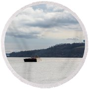 Ohio River Barge  Round Beach Towel