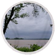 Ohio River Round Beach Towel by Sandy Keeton