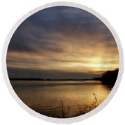 Ohio River Sunset Round Beach Towel by Sandy Keeton