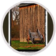 Ohio Wheelbarrel In Autumn Round Beach Towel