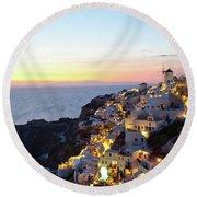 Oia Village In Santorini Island - Greece Round Beach Towel