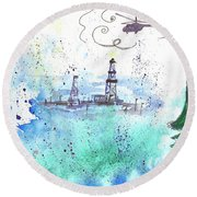 Oil Drilling Round Beach Towel