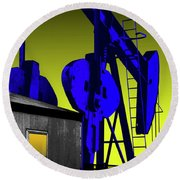 Oil Industry Well Pump Round Beach Towel