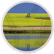 Oil Jack Reflection Saskatchewan Round Beach Towel