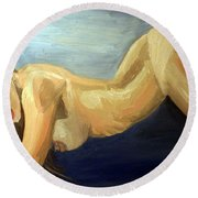 Oil Model Painting Round Beach Towel