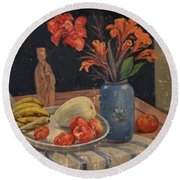 Oil Painting Still Life Vase Fruits Round Beach Towel