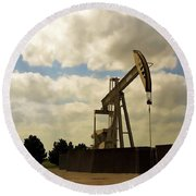 Oil Pumpjack Round Beach Towel