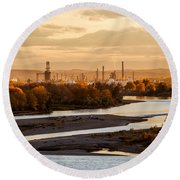 Oil Refinery At Sunset Round Beach Towel