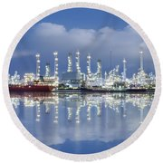 Oil Refinery Industry Plant Round Beach Towel